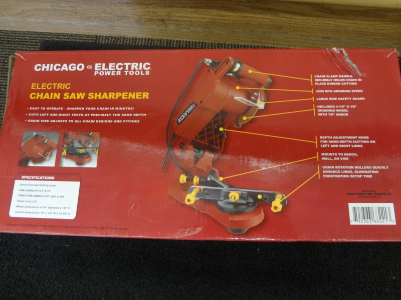 CHICAGO ELECTRIC 68221 ELECTRIC CHAIN SAW SHARPENER **LIKE NEW IN ORIGINAL BOX**