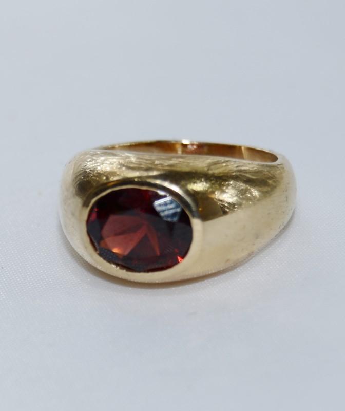 Almandite Garnet Gent's Stone Ring 14K Yellow Gold 8.65g Size:8