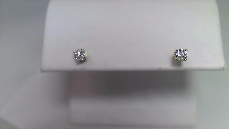 lady's 14k yellow gold 1/5cttw round diamond stud earrings