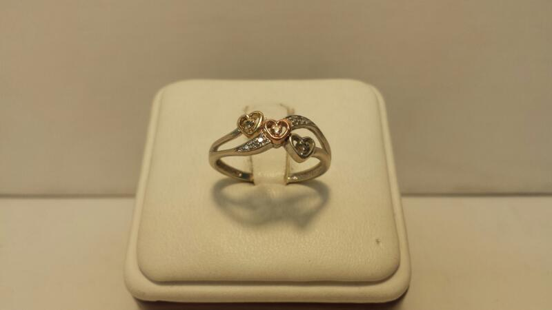 10k 3 Tone Gold Ring with 3 Hearts with 9 Diamond Chips - 1.2dwt - Size 7