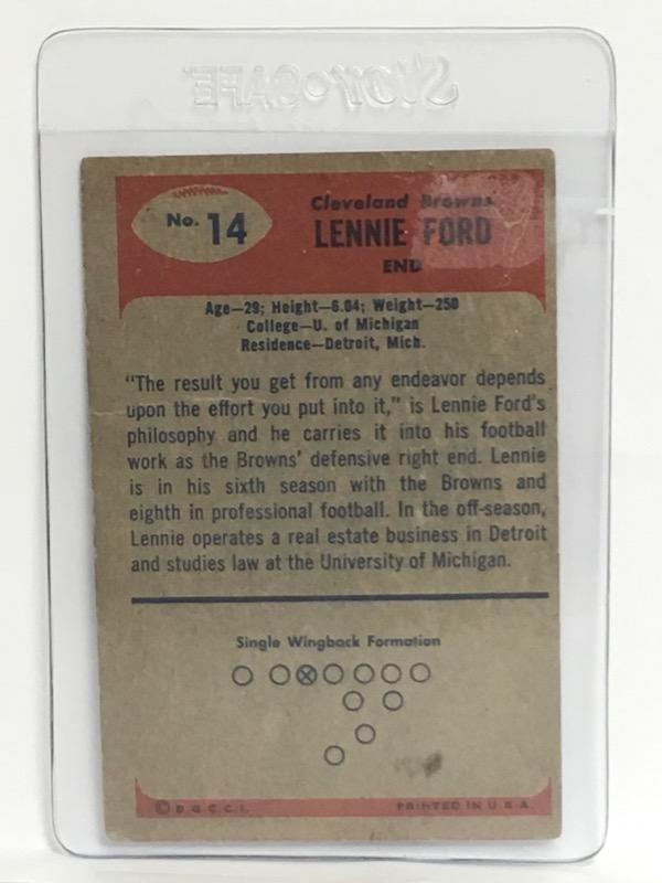 Vintage Bowman 1955 Lennie Ford #14 Cleveland Browns Football Card
