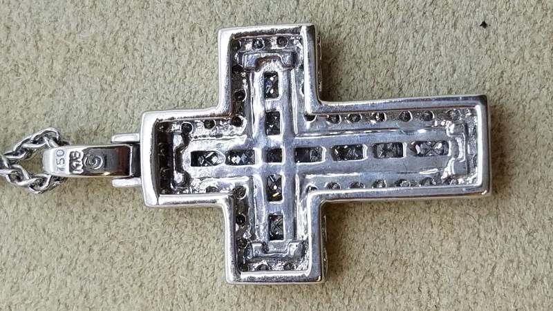 ".59 TCW Diamond Cross Necklace 16"" Wheat Chain 18k White Gold"