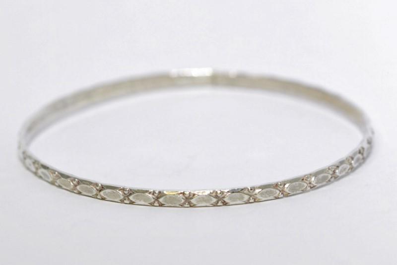 Sterling Silver Vintage Inspired Design Bangle Bracelet