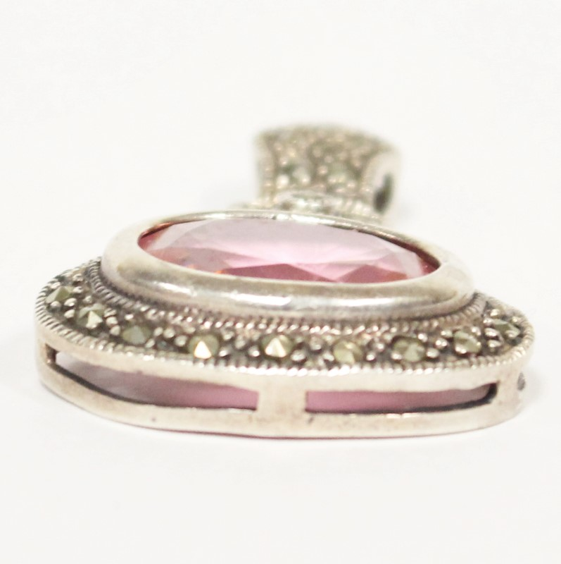 Vintage Inspired Pink Stone Silver Pendant with Floral Detail 1.5""
