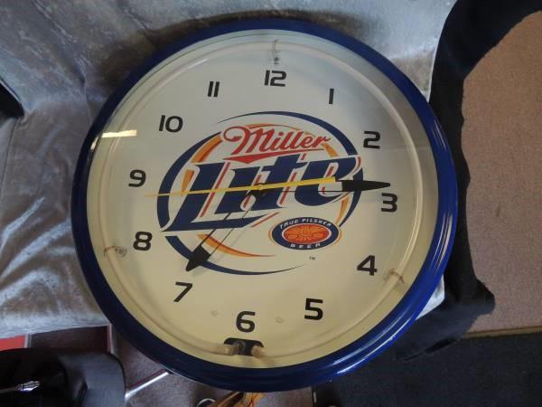 Vintage 1999 Blue Neon Miller Lite Bar Clock