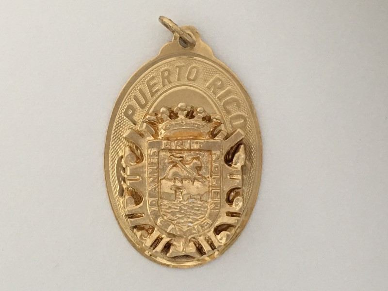 """14K YELLOW GOLD (4.17G) PUERTO RICIAN CREST """"OVAL"""" CHARM"""