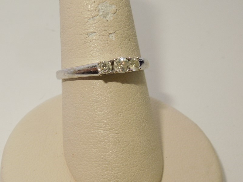 Lady's Diamond Engagement Ring 3 Diamonds .20 Carat T.W. 14K White Gold 2.2g