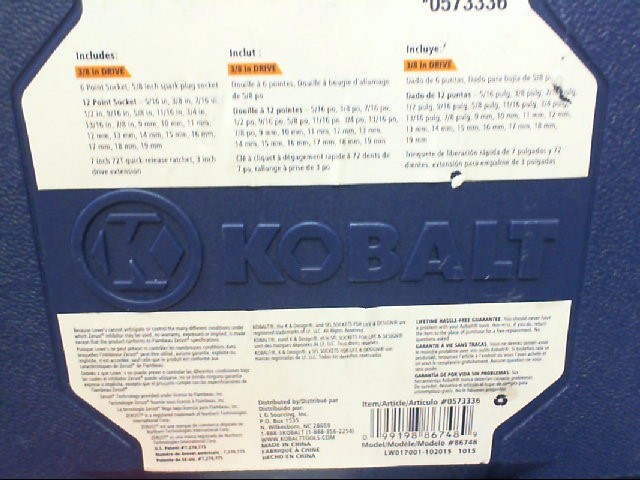 KOBALT TOOLS Sockets/Ratchet 0573336