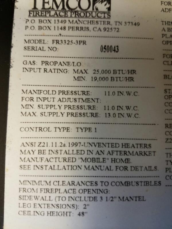 "Temco 32"" Fireplace FR3325-3PR Gas / Propane Heater 19,000 / 25,000 BTU"