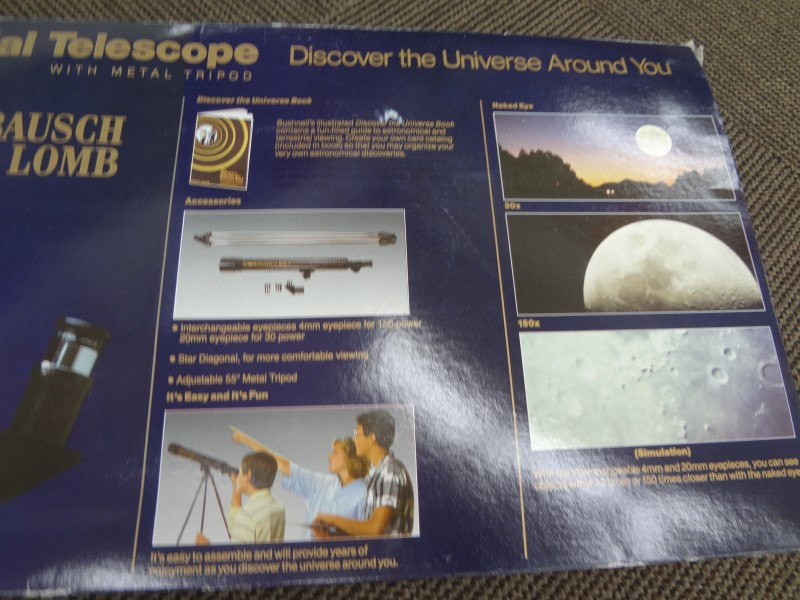BUSHNELL 150 POWER ASTRO/TERRESTRIAL TELESCOPE WITH METAL TRIPOD/MANUAL **NEW**