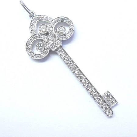 Tiffany & Co. Platinum Key Pendant .41 Carat w/ 18K Tiffany Chain