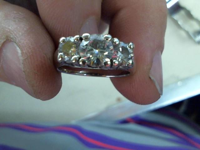 Lady's Gold-Diamond Anniversary Ring 3 Diamonds 1.35 Carat T.W. 14K White Gold