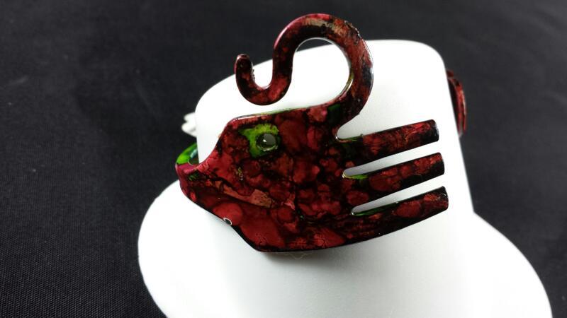 Designer Michael Kelch Painted Elephant Copper Bracelet