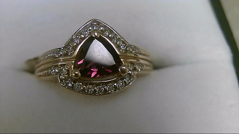rhodilite Garnet Lady's Stone & Diamond Ring 22 Diamonds .22 Carat T.W.