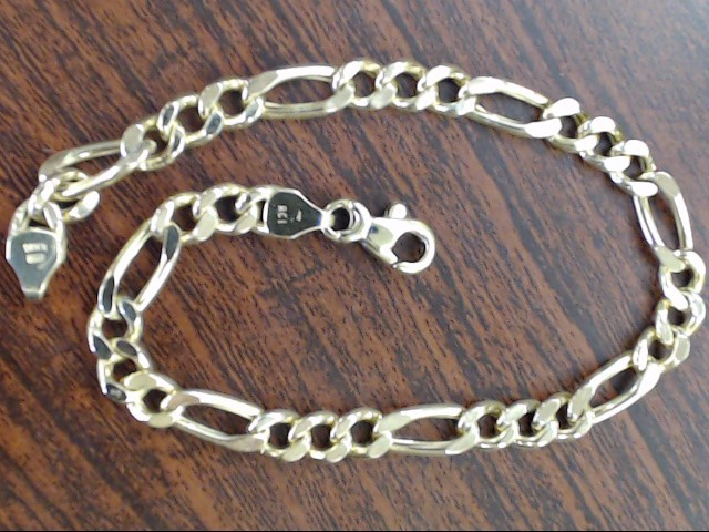 VINTAGE FIGARO LINK CHAIN BRACELET SOLID REAL 10K GOLD ITALY 8""