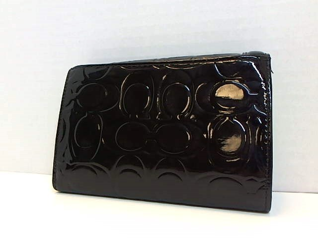 COACH BLACK PATENT SIGNATURE MONOGRAM LEATHER WALLET
