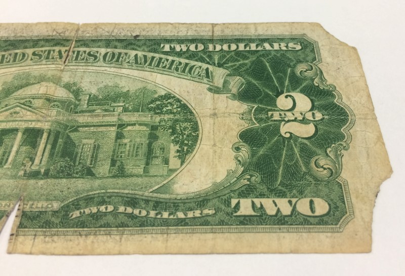 UNITED STATES 1928 D SERIES $2.00 RED SEAL NOTE