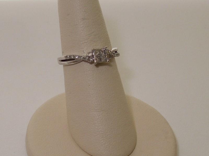 Lady's Diamond Fashion Ring 18 Diamonds .34 Carat T.W. 10K White Gold 2.1g
