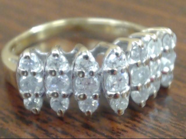 ESTATE NATURAL DIAMOND 3 ROW ANNIVERSARY WED RING BAND 10K GOLD SZ 7