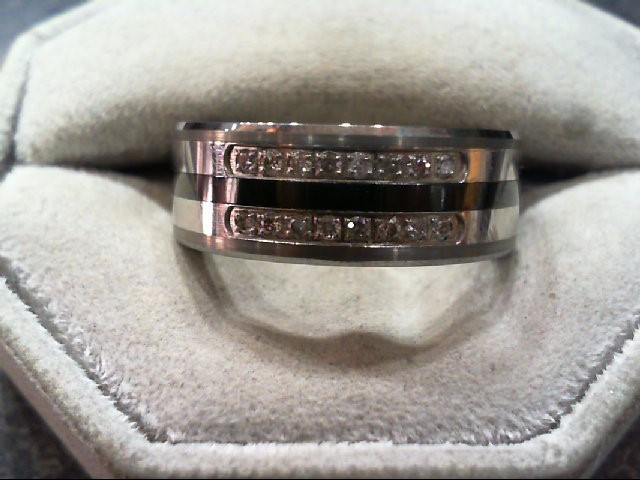 Gent's Diamond Wedding Band 16 Diamonds .080 Carat T.W. Black Tungsten 13.6g
