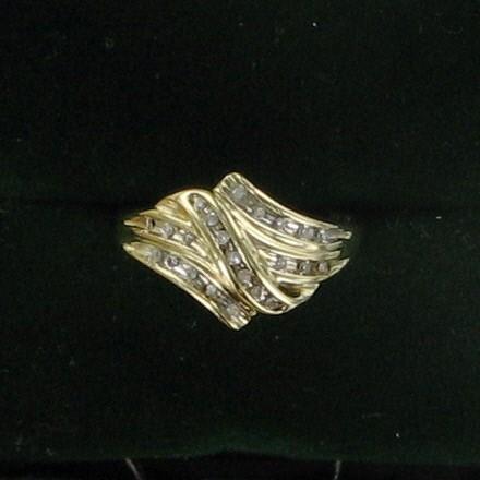 Lady's Diamond Cluster Ring 20 Diamonds .20 Carat T.W. 10K Yellow Gold 1.5dwt
