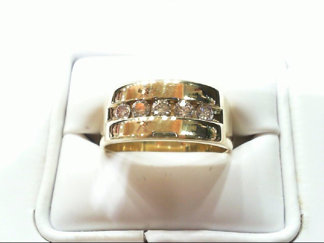 Gent's Gold-Diamond Wedding Band 5 Diamonds .60 Carat T.W. 14K Yellow Gold