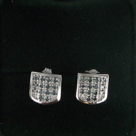 Teal Stone Gold-Stone Earrings 10K White Gold 1.4dwt