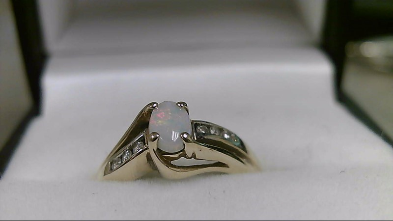 Opal Lady's Stone & Diamond Ring 6 Diamonds .06 Carat T.W. 10K Yellow Gold 2.3g
