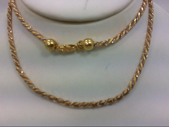 "23"" Gold Rope Chain 14K 2 Tone Gold 27.1g"