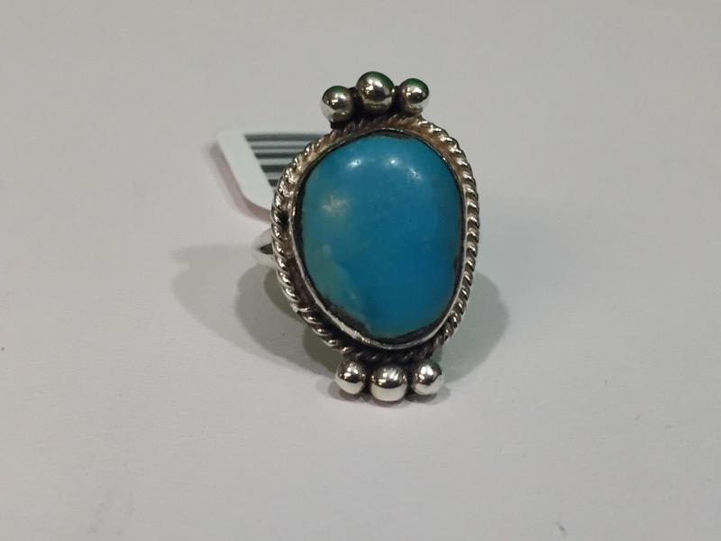 Turquoise Lady's Silver & Stone Ring 925 Silver 5.7g Size:7