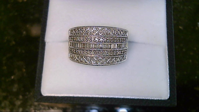 Lady's sterling silver 925 baguette and round diamond sz 6 ring