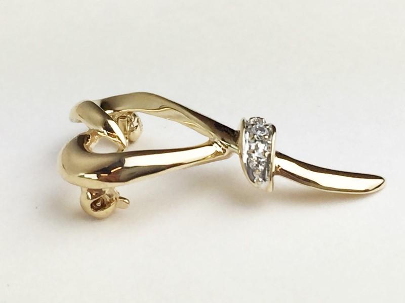 14K Yellow Gold Open Heart Diamond Brooch .06ctw