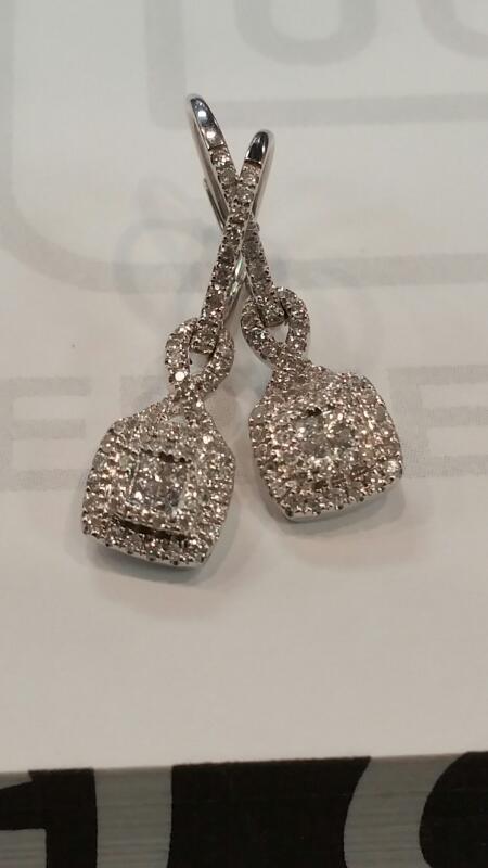 Gold-Diamond Earrings 2 Diamonds .50 Carat T.W. 14K White Gold 2.6dwt