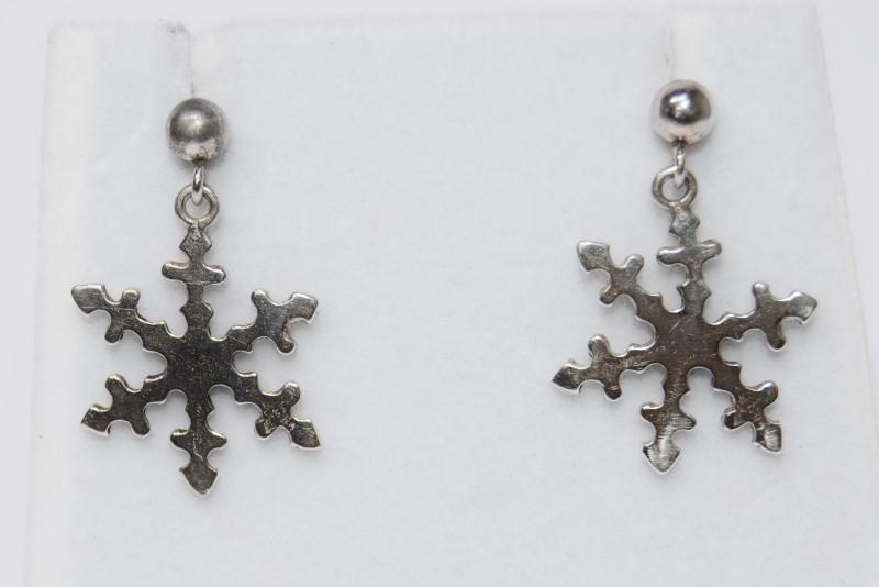 Sterling Silver Snowflake Dangle Drop Earrings