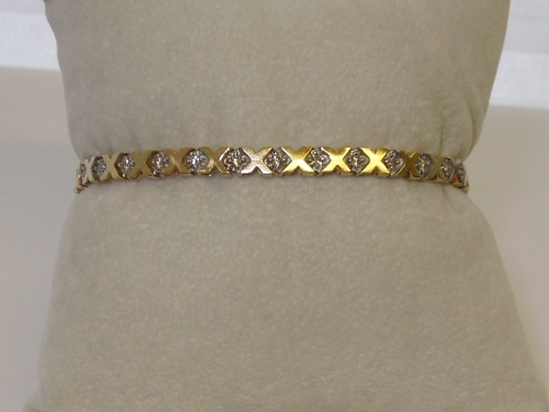 Gold-Diamond Bracelet 30 Diamonds .60 Carat T.W. 14K Yellow Gold 9.4g