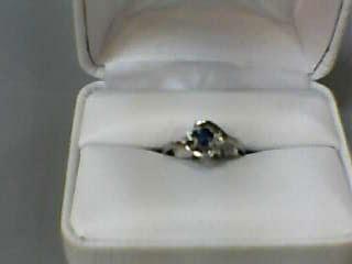 Synthetic Sapphire Lady's Stone & Diamond Ring 2 Diamonds .010 Carat T.W.