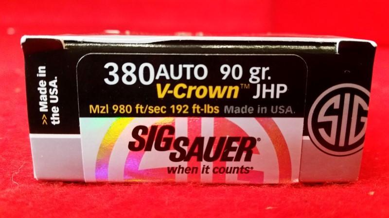Sig Sauer 380acp 90gr V-Crown JHP Ammo