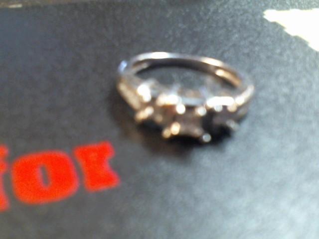 Lady's Diamond Solitaire Ring 3 Diamonds .45 Carat T.W. 14K White Gold 2.2g