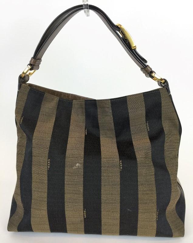 FENDI PEQUIN STRIP HOBO SHOULDER BAG