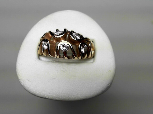 Lady's Diamond Fashion Ring 5 Diamonds .60 Carat T.W. 14K Yellow Gold 3.8g