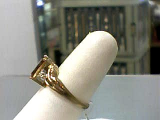 Synthetic Citrine Lady's Stone Ring 10K Yellow Gold 2.1dwt Size:7.3