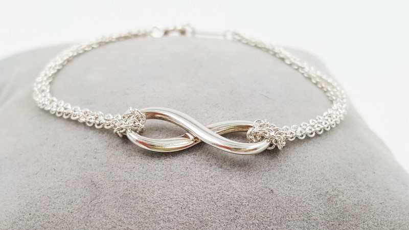 Tiffany & Co. Sterling Silver 925 Infinity Double Chain Bracelet