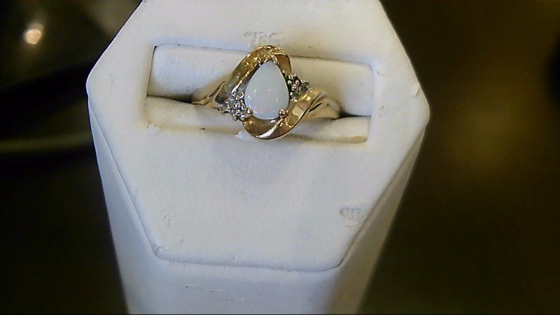 October Birthstone Opal Lady's Stone Ring 10K Yellow Gold 1.9g