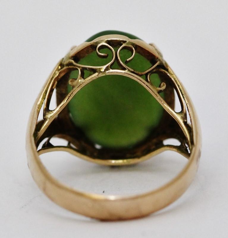14K Yellow Gold Split Shank Filigree Dark Green Jade Statement Ring Size 7