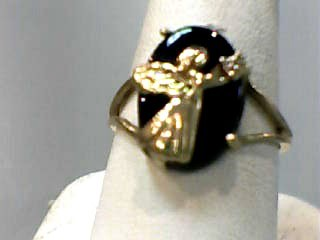 Onyx Lady's Stone Ring 10K Yellow Gold 1.6dwt Size:7