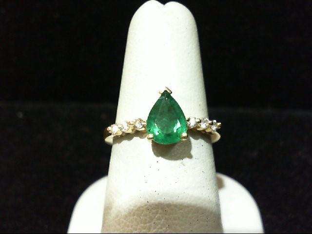 Emerald Lady's Stone & Diamond Ring 6 Diamonds .18 Carat T.W. 14K White Gold