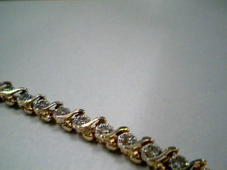 Gold-Diamond Bracelet 46 Diamonds 1.38 Carat T.W. 14K Yellow Gold 6.6g