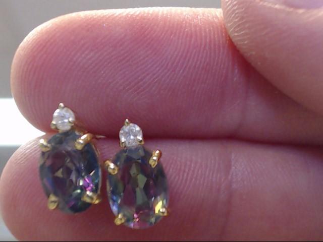Synthetic Alexandrite Gold-Diamond & Stone Earrings 2 Diamonds .02 Carat T.W.