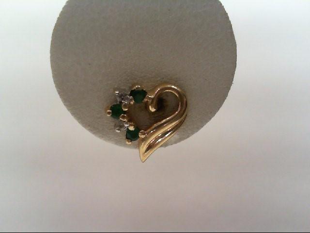 Emerald Gold-Diamond & Stone Earrings 4 Diamonds .04 Carat T.W. 14K Yellow Gold