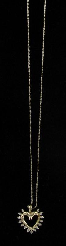 Diamond Necklace 15 Diamonds .15 Carat T.W. 10K Yellow Gold 0.9dwt